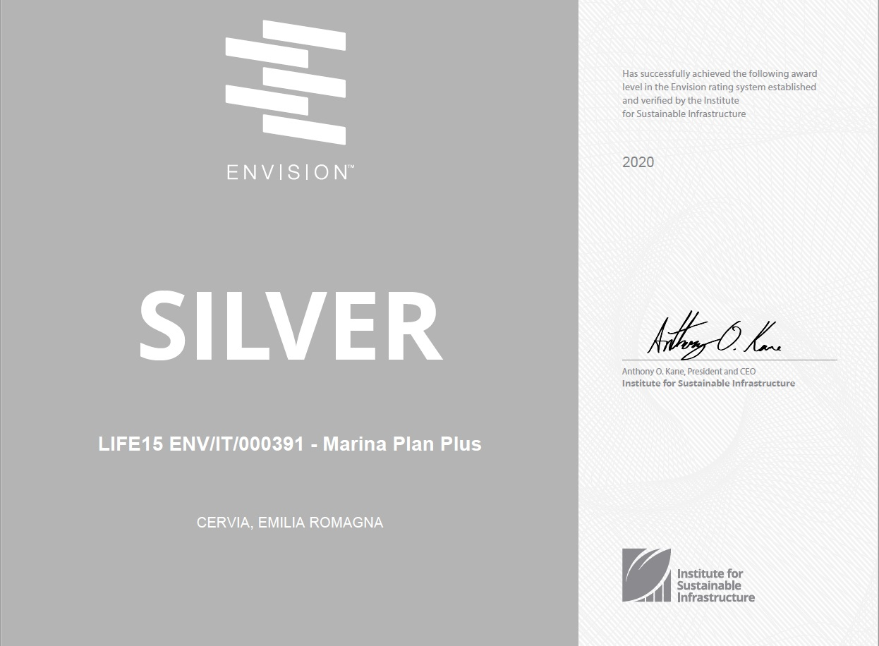 "ENVISION award assigns the ""SILVER"" rating to the LIFE Marina Plan Plus project"